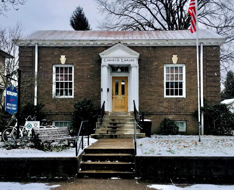 Middleport Library on a snowy day