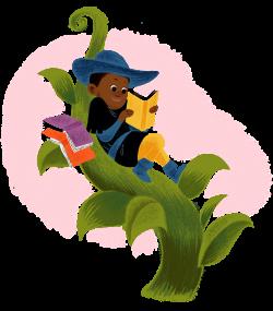 boy reading in a beanstalk